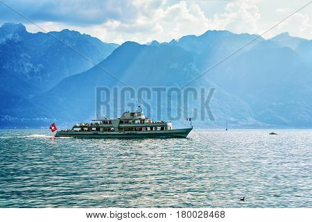 Excursion Ferry At Geneva Lake Of Vevey Switzerland