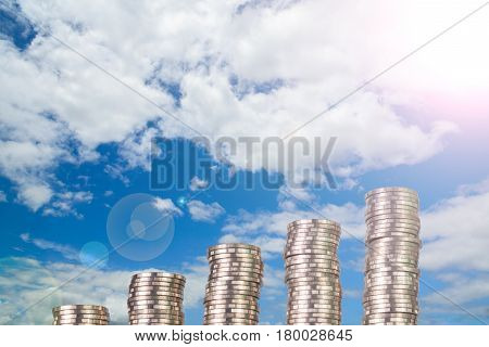 Increasing Columns Of Coins, Piles Of Coins Arranged As A Graph On Blue Sky Background