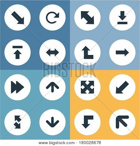 Vector Illustration Set Of Simple Arrows Icons. Elements Left-Up, Downwards Pointing, Circular And Other Synonyms Direction, Down Right Pointing And Upwards.