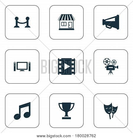 Vector Illustration Set Of Simple Movie Icons. Elements Theatre, Megaphone, Home Cinema And Other Synonyms Video, Barrier And Camera.