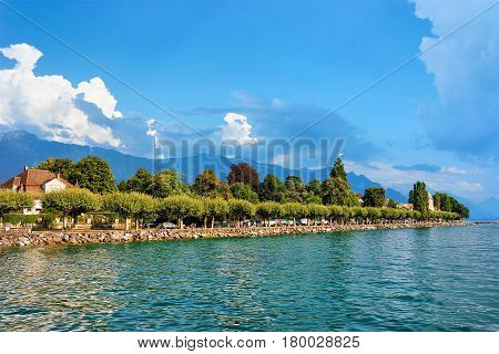 Lakefront Of Geneva Lake In Vevey
