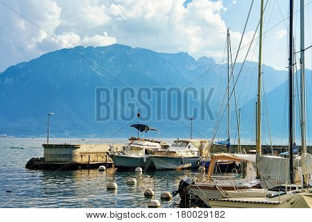 Sail Boats In Marina On Geneva Lake Riviera In Vevey