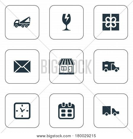 Vector Illustration Set Of Simple Carting Icons. Elements Van, Eviction Vehicle, Packaging And Other Synonyms Glass, Ribbon And Envelope.