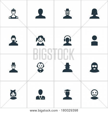 Vector Illustration Set Of Simple Avatar Icons. Elements Girl Face, Postgraduate, Workman And Other Synonyms Male, Graduate And Female.