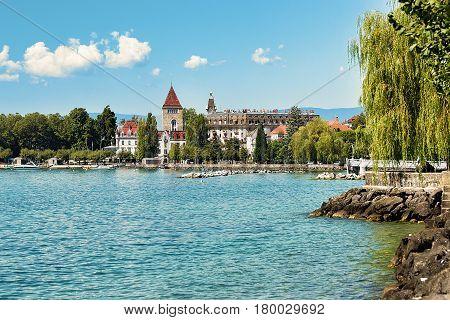 Chateau Ouchy At Lake Geneva Promenade Lausanne