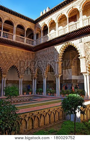 Courtyard Of Royal Alcazar Place In Seville