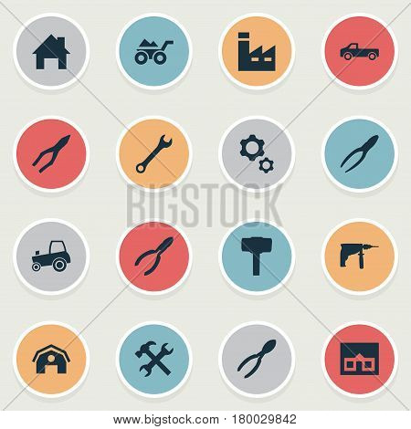 Vector Illustration Set Of Simple Build Icons. Elements Nippers, Cutters, Clipping Tool And Other Synonyms Clamping, Manufacture And Barn.