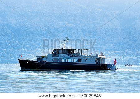Ferry In Lake Geneva In Lausanne
