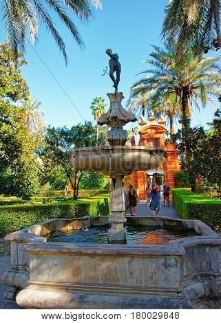 Fountain At Royal Alcazar Place In Seville