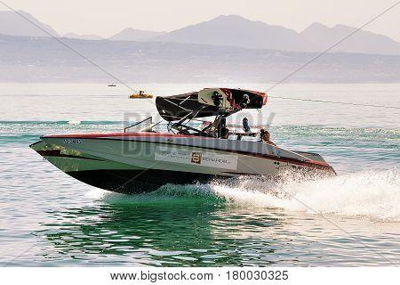 People In Motorboat In Lake Geneva In Lausanne