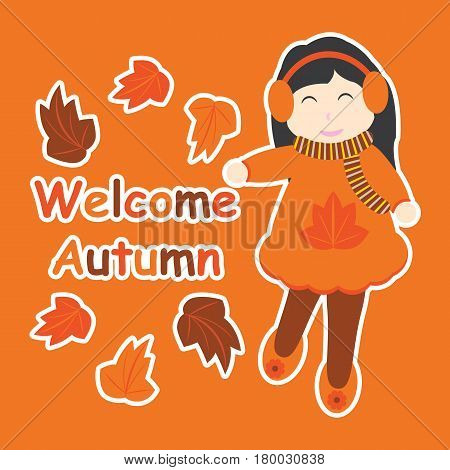 Vector cartoon of cute girl and maple leaves for Autumn postcard, greeting card, and wallpaper