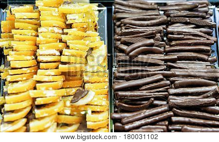 Collection of Swiss chocolate sweet sticks and citrons