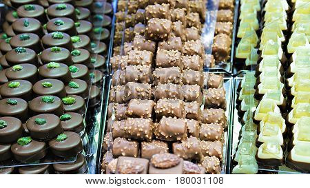 Collection Of Swiss Chocolate Sweet With Pistachio Nuts And Citron