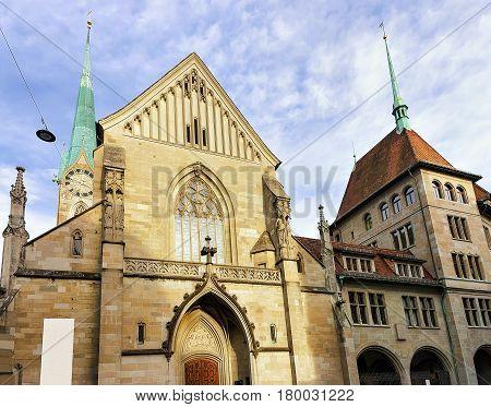 Facade Of Fraumunster Church In Zurich