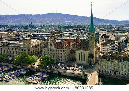 Fraumunster Church At Limmatquai In Zurich
