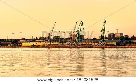 Loading Cranes In Port At Baltic Sea Of Klaipeda