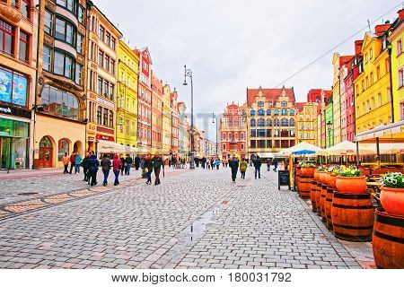 People At Market Square In Old City Center Of Wroclaw
