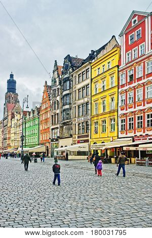 People At Market Square Of Wroclaw Poland