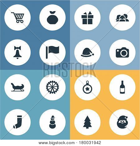 Vector Illustration Set Of Simple Celebration Icons. Elements Funfair, Relatives, Ice Man And Other Synonyms Champagne, Snowman And Funfair.