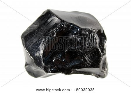 Obsidian or volcanic glass isolated on white background