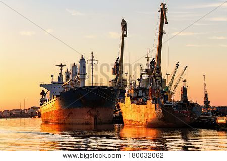 Ships In Baltic Sea At Port In Klaipeda