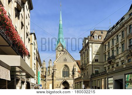 Street View On Fraumunster Church In Zurich
