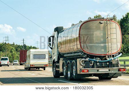 Tanker Storage Vessel On Road In Canton Geneva Of Switzerland