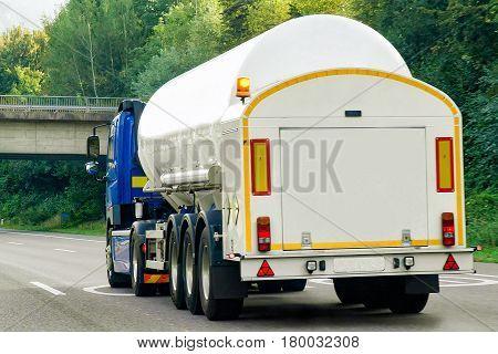 Tanker Storage Vessel On Road In Canton Zurich In Switzerland