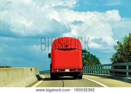 Truck On Road At Canton Geneva In Switzerland
