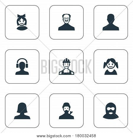 Vector Illustration Set Of Simple Human Icons. Elements Felon, Little Girl, Woman User And Other Synonyms Engineer, Man And Face.