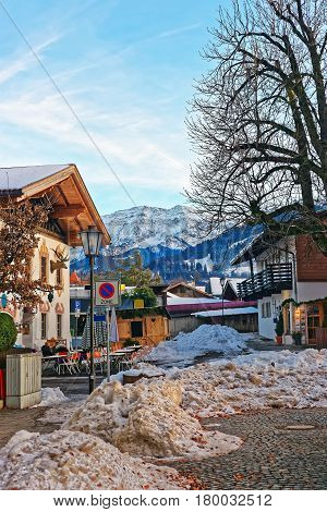 Alps And Street At Bavarian Style At Winter Garmisch Partenkirchen