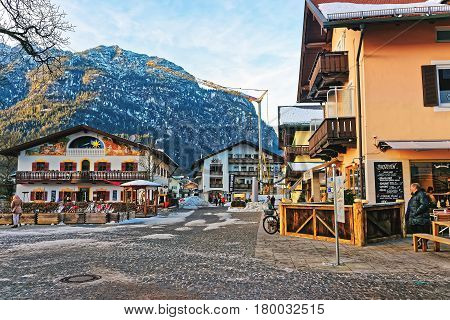 Alps And Street At Bavarian Style In Winter Garmisch Partenkirchen