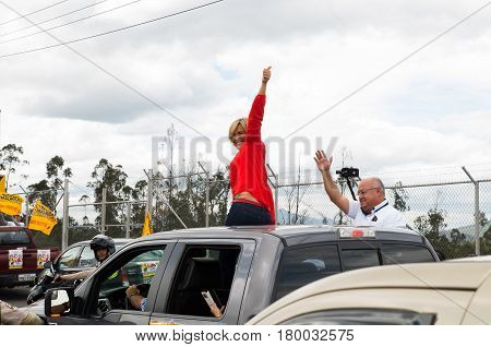 Quito, Ecuador - February 5, 2017: Cynthia Viteri, presidential candidate for the Partido Social Cristiano party, during her campaign rally for the ecuadorian elections