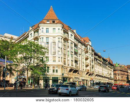 Building Architecture On Francois Versonnex Street Geneva