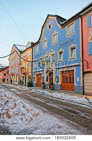 Buildings At Bavarian Style Decorated For Christmas In Garmisch Partenkirchen