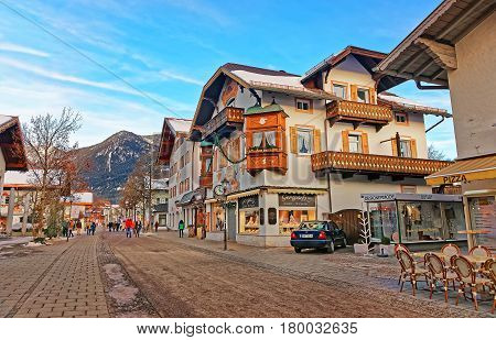 Chalets In Bavarian Style Decorated For Xmas At Garmisch Partenkirchen