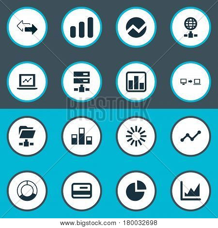 Vector Illustration Set Of Simple Information Icons. Elements Cycle Chart, Increase Graph, Progress And Other Synonyms Cycle, Presentation And Progress.