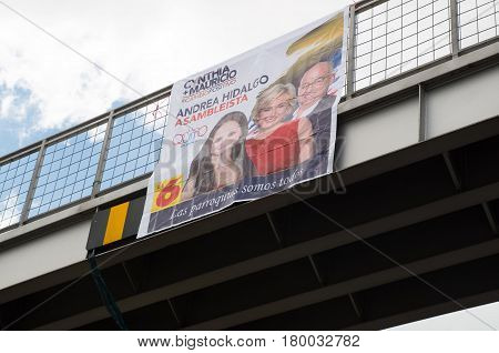 Quito, Ecuador - February 5, 2017: Campaign sign of Cynthia Viteri, presidential candidate for the Partido Social Cristiano party along with her binomial Mauricio Pozo and National Assembly candidate Andrea Hidalgo