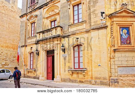 Man At Police Station Building In Mdina Old Town