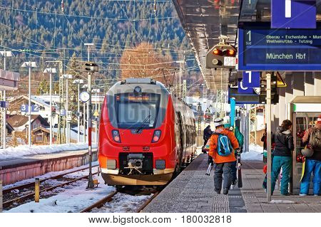 Passengers And High Speed Train Garmisch Partenkirchen