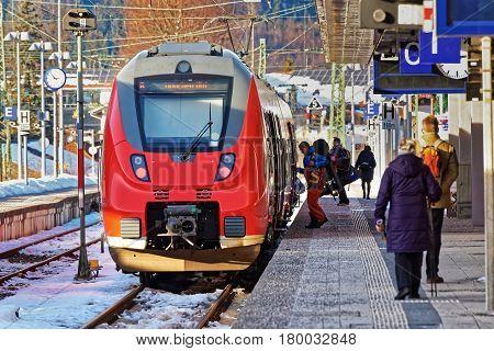 Passengers At High Speed Train In Garmisch Partenkirchen