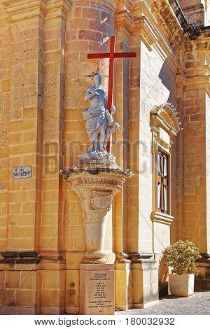 Saint Statue And San Guzepp Street Rabat