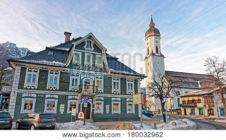 Spire Of St Martin Church In Garmisch Partenkirchen
