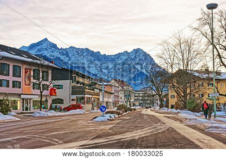 Street In Garmisch Partenkirchen In Winter