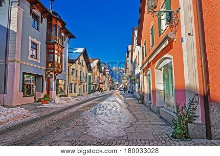 Street In Bavarian Style Decorated For Christmas In Garmisch Partenkirchen