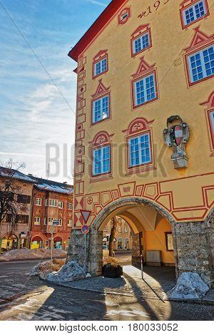Town Hall Painting In Bavarian Style At Winter Garmisch Partenkirchen