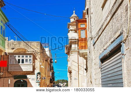 Traditional Architecture Of Buildings In Street In Rabat