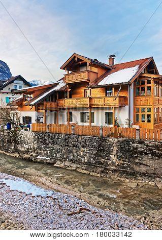 Alps Partnach River And Wooden Chalet At Garmisch Partenkirchen