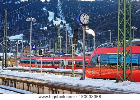 High Speed Trains At Garmisch Partenkirchen