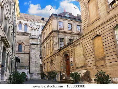 Inner yard of St Pierre Cathedral and International museum of reformation on Saint Pierre Square in Geneva Switzerland